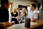 L-R: San Francisco residents, Oliver Meister, Katie Reiss, Jamie Van Maanen, and James Choe, enjoy wine tasting at Chalk Hill Estate Vineyards, in Healdsburg, Ca., on Saturday, June 6, 2009.