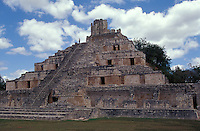 The Edificio de los Cinco Pisos (Building of the Five Storeys) at the Mayan ruins of Edzna, Campeche, Mexico. This pyramid is an example of the Puuc style of Classic maya architecture.