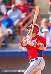 9 March 2013: Washington Nationals third baseman Ryan Zimmerman hits a home run during a Spring Training game against the Miami Marlins at Space Coast Stadium in Viera, Florida. The Nationals edged out the Marlins 8-7 in Grapefruit League play. Mandatory Credit: Ed Wolfstein Photo *** RAW (NEF) Image File Available ***
