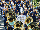 Oct 11, 2014; The Notre Dame Marching Band marches to ND Stadium before the North Carolina game. (Photo by Matt Cashore)