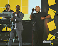 FLUSHING NY- AUGUST 29: Leslie Odom Jr and Phil Collins perform during open night cermonys on Arthur Ashe Stadium at the USTA Billie Jean King National Tennis Center on August 29, 2016 in Flushing Queens. Photo byMPI04 / MediaPunch