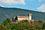 The Sasso Corbaro castle, the smaller of three castles in Bellinzona, Switzerland