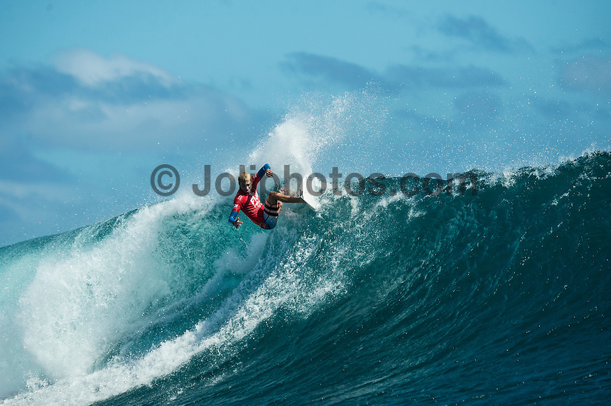 Namotu Island Resort, Namotu, Fiji. (Wednesday June 4, 2014) Adrian Ace Buchan (AUS) – The 2014 Fiji Pro was called on again this morning with the swell running in the 3' -4' range. The contest started early with Round 2 and continued till late in the afternoon, ending with Heat 6 of Round 3.The conditions stayed contestable all day with some clean barrels around the bottom of the tide. Photo: joliphotos.com