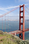 San Francisco, California; the Golden Gate Bridge and the San Francisco skyline in late afternoon