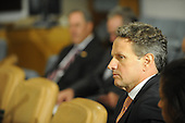 United States Secretary of the Treasury Timothy Geithner looks on as U.S. President Barack Obama meets Prime Minister Yoshihiko Noda of Japan, Wednesday, September 21, 2011 at United Nations Headquarters in New York, New York..Credit: Aaron Showalter / Pool via CNP