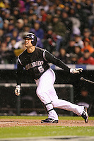 DENVER, CO - Matt Holliday of the Colorado Rockies homers in Game 3 of the National League Championship Series against the Arizona Diamondbacks at Coors Field in Denver, Colorado on October 14, 2007. Photo by Brad Mangin