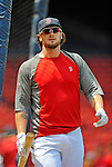 9 June 2012: Boston Red Sox catcher Jarrod Saltalamacchia awaits his turn in the batting cage prior to a game against the Washington Nationals at Fenway Park in Boston, MA. The Nationals defeated the Red Sox 4-2 in the second game of their 3-game series. Mandatory Credit: Ed Wolfstein Photo