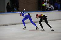 SCHAATSEN: DEVENTER: IJsbaan De Scheg, 27-10-12, IJsselcup, winnares 1000m Marit Dekker, Leeyen Harteveld, ©foto Martin de Jong