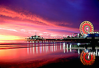 Santa Monica Pacific Park Pier Fiery Sunset CGI Backgrounds, ,Beautiful Background