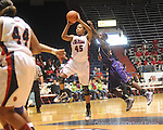 "Ole Miss's Bianca Thomas (45) shoots as LSU's Allison Hightower (23) defends LSU on Sunday, January 17, 2010 at the C.M. ""Tad"" Smith Coliseum in Oxford, Miss. Bianca Thomas scored 42 points, a C.M. ""Tad"" Smith record for a woman's game, in the Lady Rebels 80-71 win."