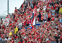 22 May 2010: Toronto FC afsn and supporters were out in full voice during a game between the New England Revolution and Toronto FC at BMO Field in Toronto..Toronto FC won 1-0.....