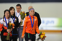 SPEED SKATING: SALT LAKE CITY: 22-11-2015, Utah Olympic Oval, ISU World Cup, Mass Start Ladies, Ivanie Blondin (CAN), winner Irene Schouten (NED), ©foto Martin de Jong