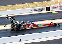 Sep 17, 2016; Concord, NC, USA; NHRA top fuel driver Doug Kalitta deploys his parchutes during qualifying for the Carolina Nationals at zMax Dragway. Mandatory Credit: Mark J. Rebilas-USA TODAY Sports
