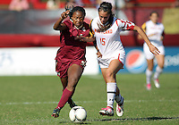 COLLEGE PARK, MD - OCTOBER 21, 2012:  Erika Nelson (15) of the University of Maryland and Jamia Fields (4) of Florida State tangle during an ACC women's match at Ludwig Field in College Park, MD. on October 21. Florida won 1-0.