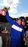 May 6, 2012; Commerce, GA, USA: NHRA  super street driver XXXX celebrates after winning the Southern Nationals at Atlanta Dragway. Mandatory Credit: Mark J. Rebilas-