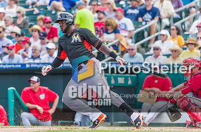 10 March 2015: Miami Marlins outfielder Marcell Ozuna in Spring Training action against the Washington Nationals at Roger Dean Stadium in Jupiter, Florida. The Marlins edged out the Nationals 2-1 on a walk-off solo home run in the 9th inning of Grapefruit League play. Mandatory Credit: Ed Wolfstein Photo *** RAW (NEF) Image File Available ***