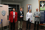 27 August 2006: From left: Marcelo Balboa, Alexi Lalas, Chris Henderson, and MLS Commissioner Don Garber prepare to open a new Major League Soccer exhibit. The President's Reception and Dinner were held at the National Soccer Hall of Fame in Oneonta, New York the evening before the 2006 Induction Ceremony.