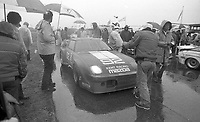 The #92 Mazda of Lee Mueller, Hugh McDonough and Terry Visger wiats out a red flag in the rain during the 1983 24 Hours of Daytona , Daytona Internationa Speedway, Daytona Beach, FL, February 1-2, 1983.  (Photo by Brian Cleary / www.bcpix.com)