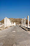 Israel, Bet Shean Palladius street from the Byzantine period, fourth to sixth century AD was built on Roman foundations. During the Hellenistic period Bet Shean had a Greek population and was called Scythopolis. In 64 BCE it was taken by the Romans, rebuilt, and made the capital of the Decapolis, the &quot;Ten Cities&quot; of Samaria that were centers of Greco-Roman culture. The city contains the best preserved Roman theater of ancient Samaria as well as a hippodrome, cardo, and other trademarks of the Roman influence. Excavations at the cite are ongoing at the site and reveal no less than 18 successive ancient towns