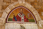 Travel stock photo of St. Nicolas opus sectile icon above an entrance door of Saint Nicolas Monastery near Limassol in Cyprus Spring 2007 Horizontal