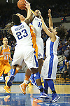 UK junior center DeNesha Stallworth and junior forward Samarie Walker attempting to block a shot made by Tennessee senior guard Taber Spani during the first half of the women's basketball game vs. Tennessee at Memorial Coliseum on Sunday, March 3, 2013, in Lexington, Ky. Photo by Kalyn Bradford | Staff