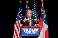 February 21, 2016 - Atlanta, Georgia: Coming on the heels of his South Carolina primary win, Donald Trump visited Atlanta on Sunday to address an estimated 10,000 supporters at the Georgia World Congress Center.<br />