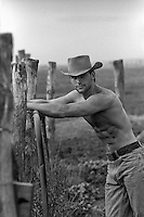 shirtless cowboy on a ranch