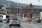 WATERBURY, CT. 06 January 2009-010609SV10--Informational signs like this one on I84 West at Exit 22 in Waterbury broadcast construction and Amber alerts will also start to broadcast Silver Alerts for missing seniors.<br /> Steven Valenti Republican-American