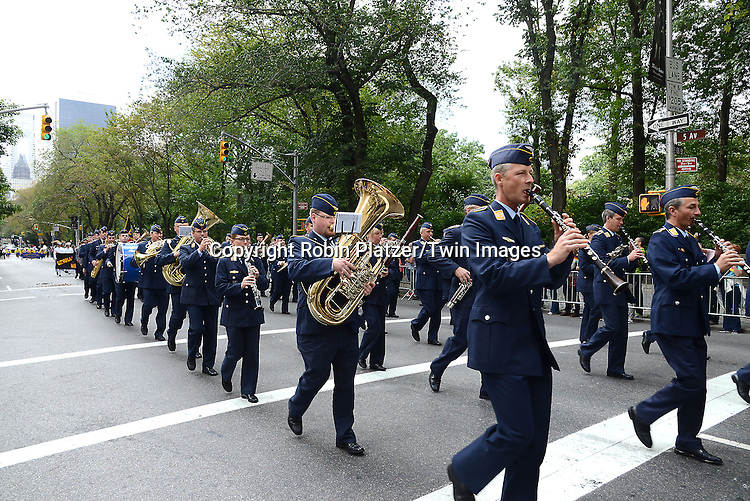 Marchers march in the Steuben Parade on Fifth Avenue in New York City on September 20. 2014. <br /> <br /> photo by Robin Platzer/Twin Images<br />  <br /> phone number 212-935-0770
