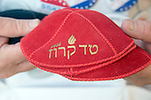 Marc Daniels of Springfield, Illinois, who sells Jewish Campaign Kippahs (yarmulkes), shows off his red &quot;Ted Cruz 2016&quot; kippah on Euclid Avenue near the Quicken Loans Arena, site of the 2016 Republican National Convention in Cleveland, Ohio on Saturday, July 16, 2016.<br /> Credit: Ron Sachs / CNP<br /> (RESTRICTION: NO New York or New Jersey Newspapers or newspapers within a 75 mile radius of New York City)