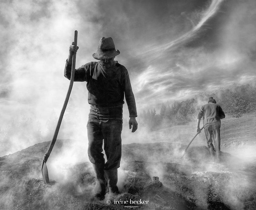 Turnaround<br /> Charcoal Burner at work. Hargita, Romania.