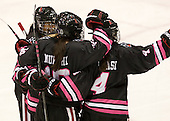 Rachel Llanes (NU - 11), Colleen Murphy (NU - 10), Maggie DiMasi (NU - 4) - The Northeastern University Huskies defeated the visiting Providence College Friars 8-7 on Sunday, January 20, 2013, at Matthews Arena in Boston, Massachusetts.