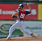4 July 2012: Vermont Lake Monsters pitcher Logan Chitwood on the mound against the Hudson Valley Renegades at Centennial Field in Burlington, Vermont. The Lake Monsters edged out the Renegades the Cyclones 2-1 in NY Penn League action. Mandatory Credit: Ed Wolfstein Photo