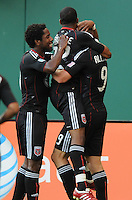 DC United forward Danny Allsopp (9) celebrates his goal in the minute 12th of the game with team mates.  DC United defeated The Kansas City Wizards  2-0 at RFK Stadium, Wednesday  May 5, 2010.