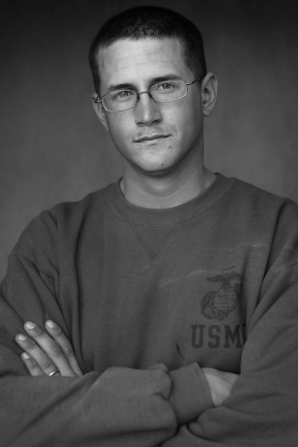 Lcpl. Jarrett Bilskie, 22, Bruceville, Indiana, 3rd Platoon, Kilo Co., 3rd Battalion 1st Marines, 1st Marine Division, United States Marine Corps, at the company's firm base in Haditha, Iraq on Sunday Oct. 22, 2005.