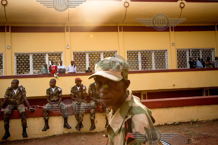 Soldiers of the national army, Central African Army Forces (FACA), during the inauguration of president Catherine Samba-Panza. In 2013 a rebellion by a predominantly Muslim rebel group Seleka, led by Michel Djotodia, toppled the government of President Francios Bozize. Djotodia declared that Seleka would be disbanded but as law and order collapsed the ex-Seleka fighters roamed the country committing atrocities against the civilian population. In response a vigillante group, calling themselves Anti-Balaka (Anti-Machete), sought to defend their lives and property but they then began to take reprisals against the Muslim population and the conflict became increasingly sectarian. French and Chadian peacekeeping forces have struggled to contain the situation and the smaller Muslim population began to flee the country.