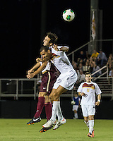 The Winthrop University Eagles played the College of Charleston Cougars at Eagles Field in Rock Hill, SC.  College of Charleston broke the 1-1 tie with a goal in the 88th minute to win 2-1.  Achille Obougou (7), Ike Crook (11)