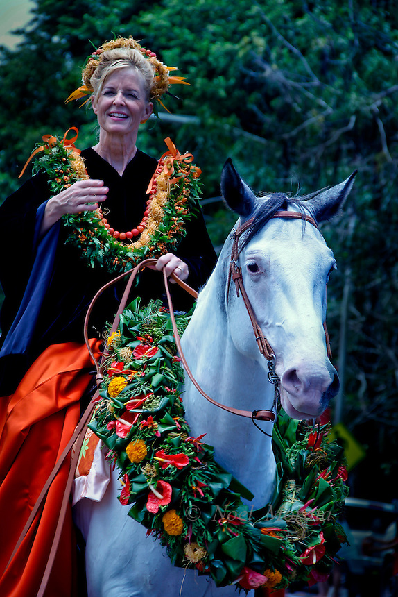 Pau rider at the Merrie Monarch parade in HiloHilo Orchid Fashion event Hilo on the Big Island of Hawaii, Noel Morata Photography