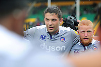 Charlie Ewels of Bath Rugby looks on in a post-match huddle. Aviva Premiership match, between Northampton Saints and Bath Rugby on September 3, 2016 at Franklin's Gardens in Northampton, England. Photo by: Patrick Khachfe / Onside Images