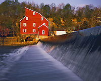 Spring Morning at Clinton Mill (Red Mill), Clinton, South Branch of Raritan River, New Jersey