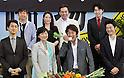 "Masaaki Uchino and cast members, June 07, 2012 : Tokyo, Japan :(Front L-R)Actors Dai Watanabe, Yuki Matsushita, Masaaki Uchino, Hiroyuki Hirayama, (Rear L-R)director Hajime Hashimoto, actors Mayumi Wakamura, Kyozo Nagatsuka and Tasuku Emoto attend a premiere for the film ""Rinjo"" in Tokyo, Japan, on June 7, 2012. (Photo by AFLO)"