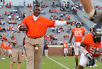 Oct 23, 2010; Charlottesville, VA, USA; Virginia Cavaliers linebacker coach Vincent Brown before the game against the Eastern Michigan Eagles at Scott Stadium.  Virginia won 48-21. Mandatory Credit: Andrew Shurtleff