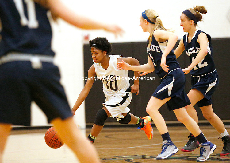 Waterbury, CT- 18 February 2015-021815CM12- Kaynor Tech's Sydney Craig brings the ball up court against Immaculate during their basketball matchup in Waterbury on Wednesday.  Craig would net 13, as  Kaynor fell to Immaculate 41-30.  Christopher Massa Republican-American