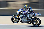 Yamaha Factory racing's Jorge Lorenzo of Spain in the morning practice session for the U.S. MotoGP at Mazda Raceway Laguna Seca, Friday, July 27, 2012.  Lorenzo finished the session in second position.