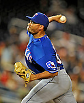 20 June 2008: Texas Rangers' relief pitcher Joaquin Benoit on the mound against the Washington Nationals at Nationals Park in Washington, DC. The Nationals rallied in the eighth to tie, and then win 4-3 in the 14th inning of their inter-league matchup...Mandatory Photo Credit: Ed Wolfstein Photo