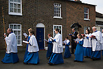 Palm Sunday. St Mary the Virgin Church of England, Merton, South Wimbledon London UK. Choir process back to church.