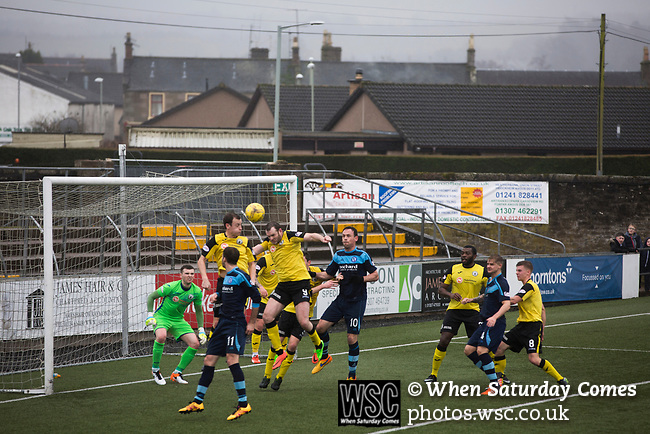 Forfar Athletic 1 Edinburgh City 2, 02/02/2017. Station Park, SPFL League 2. The visitors defending during the first-half at Station Park, Forfar during the SPFL League 2 fixture between Forfar Athletic and Edinburgh City (yellow). It was the club's sixth and final meeting of City's inaugural season since promotion from the Lowland League the previous season. City came from behind to win this match 2-1, watched by a crowd of 446. Photo by Colin McPherson.