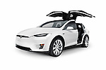 White 2017 Tesla Model X luxury SUV electric car with open falcon wing doors isolated on white background