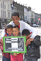 Some of the younger rally supporters.<br /> <br /> Cardiff, South Wales. Sunday May 11th 2014. Nigerians in Cardiff in organised rally in support of the 276 abducted school children in Chibok, Nigeria by Boko Haram terrorists. <br /> <br /> Photo by Jeff Thomas/Jeff Thomas Photography