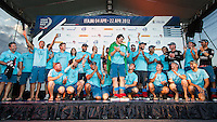 BRAZIL, Itajai. 6th April 2012. Volvo Ocean Race. The crew of Team Telefonica celebrate their second place in Leg 5.